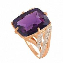 Золотое кольцо с александритом и фианитами Джина