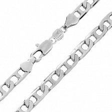 Серебряная родированная цепочка Агния в якорном плетении с перемычками, 2мм