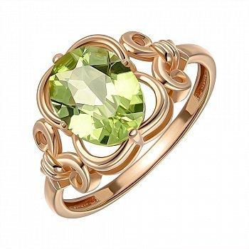 Кольцо из красного золота с хризолитом 000149642