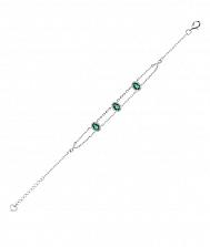 Серебряный браслет с зеленым кварцем и фианитами 000131011