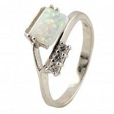 Серебряное кольцо Гелия с опалом и фианитами