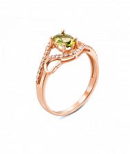 Кольцо из красного золота с хризолитом и фианитами 000131307