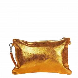 Кожаный клатч Genuine Leather 1661 золотисто-оранжевого цвета с короткой ручкой на запястье