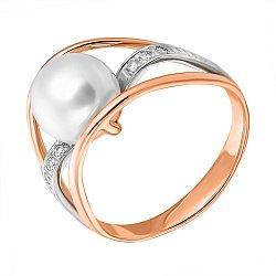 Золотое кольцо Клэр в комбинированном цвете с белым жемчугом и бриллиантами