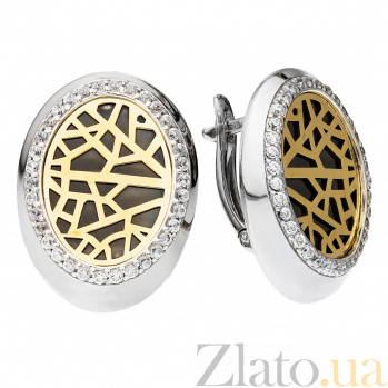 Серебряные серьги с золотой пластиной и фианитами Фейза 000030208