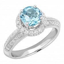 Кольцо в белом золоте Наталья с голубым топазом и бриллиантами