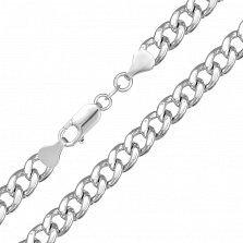 Серебряная цепь Арес с родием, 6 мм