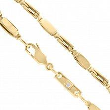 Золотая цепь Аркан крупного фантазийного плетения в желтом цвете с бриллиантом, 3мм