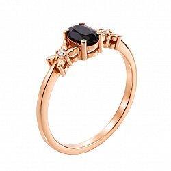 Кольцо в красном золоте Дороти с сапфиром и бриллиантами