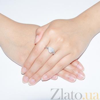 Серебряное кольцо Листик в усыпке фианитов 000013324