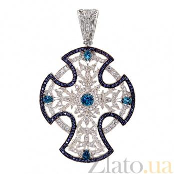 Декоративный крест в белом золоте с фианитами Анастасия VLT--ТТ3566-0-12