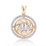 Золотой кулон Знак зодиака Весы с фианитами