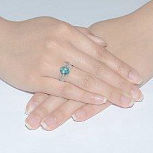Серебряное кольцо Тропикана с зелёным кварцем и фианитами