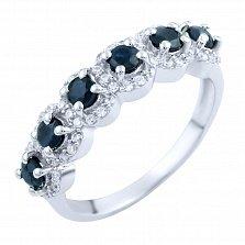 Серебряное кольцо Мирра с сапфирами и фианитами