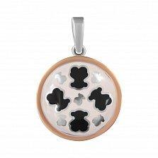 Серебряная подвеска Милые мишки с черной и белой эмалью и золотой накладкой