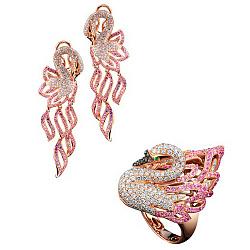Золотой гарнитур с сапфирами и бриллиантами Царевна Лебедь 000018847