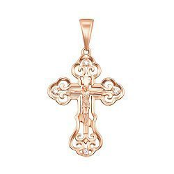 Золотой крестик Преимущество ажурной формы в красном цвете с фианитами