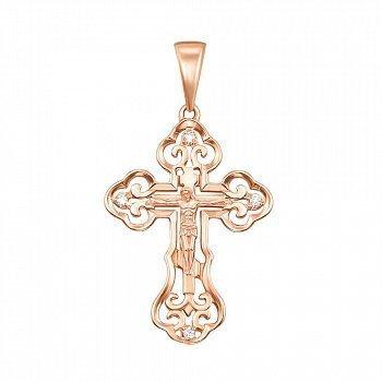 Золотой крестик Преимущество ажурной формы в красном цвете с фианитами 000129615