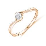 Кольцо Мелодия из красного золота с бриллиантом
