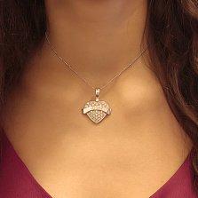 Серебряный кулон-сердце Вечная любовь с белыми фианитами в стиле Диор