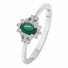 Золотое кольцо Чарлин с изумрудом и бриллиантами