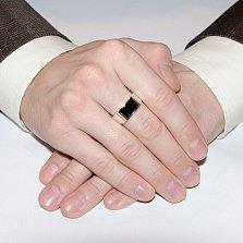 Серебряное кольцо-печатка Британец с ониксом и золотой вставкой