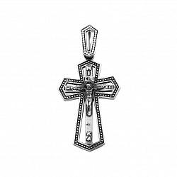 Массивный серебряный крест Отче Наш с чернением