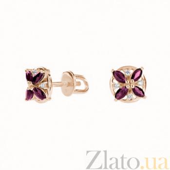 Золотые серьги-пуссеты Карина с рубинами и бриллиантами ZMX--EDR-6808_K
