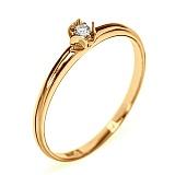 Золотое кольцо в красном цвете с бриллиантом Биргит
