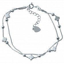 Двухслойный серебряный браслет на ногу Удача с шариками и листиками клевера