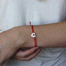 Шелковый браслет Лучшей сестре со вставкой-сердцем