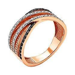 Кольцо из красного золота с черными и белыми фианитами 000137158