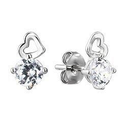 Серебряные серьги-пуссеты с фианитами 000141203