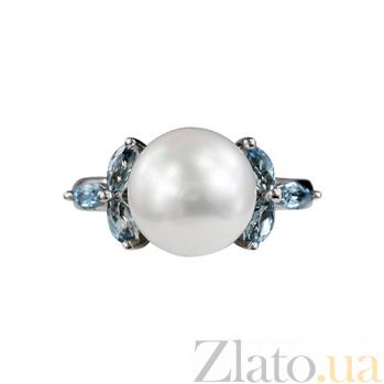 Золотое кольцо с топазами и жемчугом Беатрис 000026929