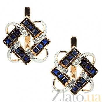 Золотые серьги с сапфирами и бриллиантами Вирджиния ZMX--ES-6162_K