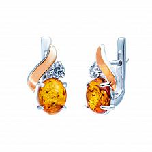 Серьги из серебра с золотом и янтарем Амбер