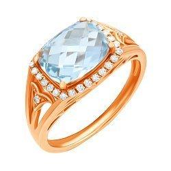 Кольцо из красного золота с голубым топазом и бриллиантами 000139474