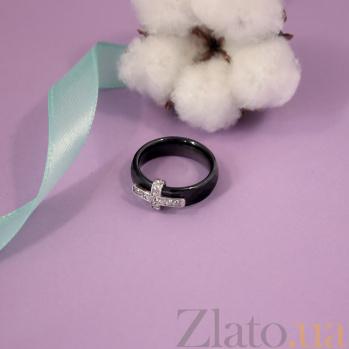 Керамическое кольцо Крест с фианитами в родированном касте 000080321