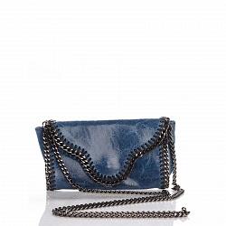 Кожаный клатч Genuine Leather 1005 синего цвета с декоративной строчкой и цепочкой 000092646