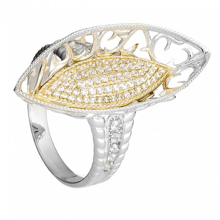 Серебряное кольцо с золотой вставкой и цирконием Саванна 000030062