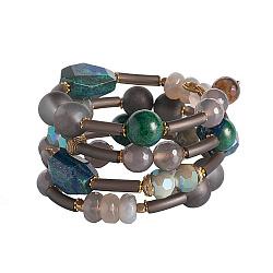 Браслет спиралька с лазуритом, лабрадором, агатом и кристаллами Swarovski