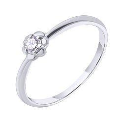 Кольцо в белом золоте с фианитом 000023159