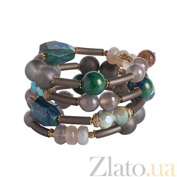 Браслет спиралька с лазуритом, лабрадором, агатом и кристаллами Swarovski 000024199