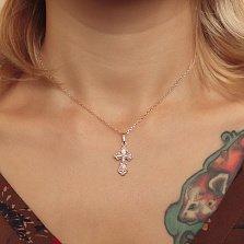Золотой крестик Вечный защитник в комбинированном цвете на ажурной фигурной основе