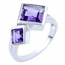 Серебряное кольцо Анвар с аметистами