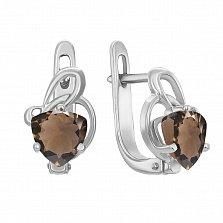 Серебряные серьги с раухтопазами 000133379