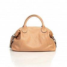 Кожаная сумка на каждый день Genuine Leather 8961 пудрового цвета с декоративной подвеской-кистью