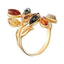 Серебряное кольцо в позолоте с янтарем 000149066