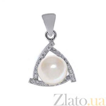 Серебряный кулон с белым жемчугом Вера AQA--P00659PW