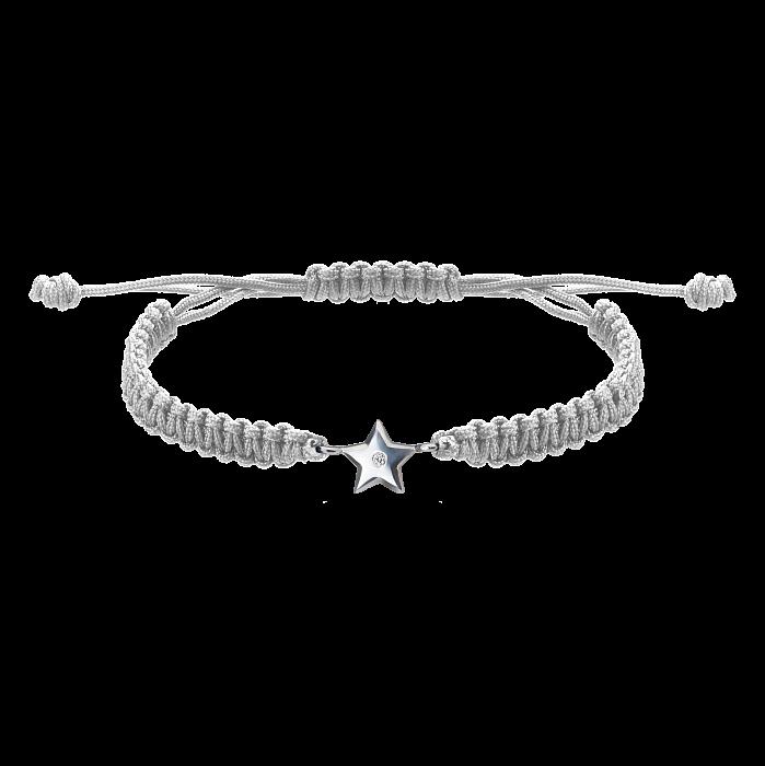 Серый плетеный браслет Звездочка с cеребряной вставкой и фианитом, 8х8мм 000080632